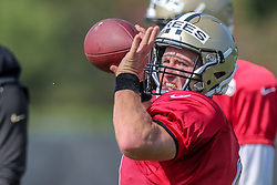 July 28, 2018 - Metairie, LA, U.S. - METAIRIE, LA. - JULY 28:  New Orleans Saints quarterback Drew Brees (9) runs through a drill during New Orleans Saints training camp practice on July 28, 2018 at the Ochsner Sports Performance Center in New Orleans, LA.  (Photo by Stephen Lew/Icon Sportswire) (Credit Image: © Stephen Lew/Icon SMI via ZUMA Press)