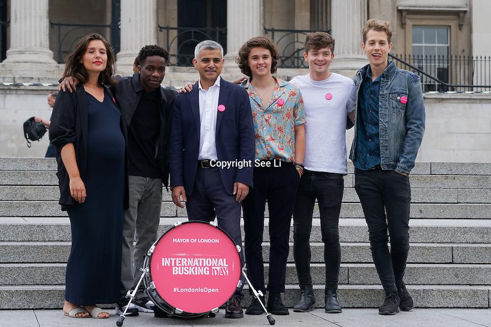 London,England,UK, 22th July 2016 : Jessie Ware, Tinchy Stryder ,The Vamps join the Mayor of London Sadiq Khan Launch of International Busking Day '#LondonIsOpen' in Trafalgar Square, London, UK. Photo by See Li