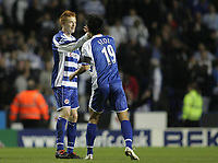 Photo: Lee Earle.<br /> Reading v Newcastle United. The Barclays Premiership. 30/04/2007.Reading's Doel Ki-Hyeon (R) congratulates Dave Kitson after he scored their opening goal.