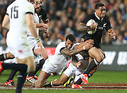 \Malakai Fekitoa of the All Blacks on the burst during the third rugby test between the All Blacks and England played at Waikato Stadium in Hamilton during the Steinlager Series - All Blacks v England, Hamiton, 21 June 2014<br /> www.photosport.co.nz