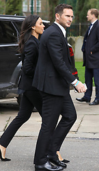 Frank Lampard and Christine Bleakley attend a memorial service today held at St Luke's Church in Chelsea for former footballer Ray Wilkins.<br /> <br /> 1 May 2018.<br /> <br /> Please byline: Vantagenews.com
