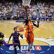 UNCASVILLE, CONNECTICUT- JULY 15:  Jonquel Jones #35 of the Connecticut Sun scores tow points during the Los Angeles Sparks Vs Connecticut Sun, WNBA regular season game at Mohegan Sun Arena on July 15, 2016 in Uncasville, Connecticut. (Photo by Tim Clayton/Corbis via Getty Images)