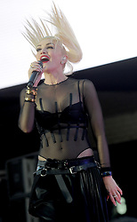 Gwen Stefani kicks off the Samsung 837 Summer concert Series in NYC. The singer was dressed in a see through leather and mesh outfit, New York City, NY, USA on June 2, 2016. Photo by Dennis VanTine/ABACAPRESS.COM