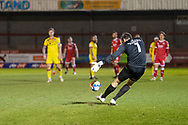 Walsall goalkeeper Liam Roberts (#1) takes a free kick during the EFL Sky Bet League 2 match between Crawley Town and Walsall at The People's Pension Stadium, Crawley, England on 16 March 2021.