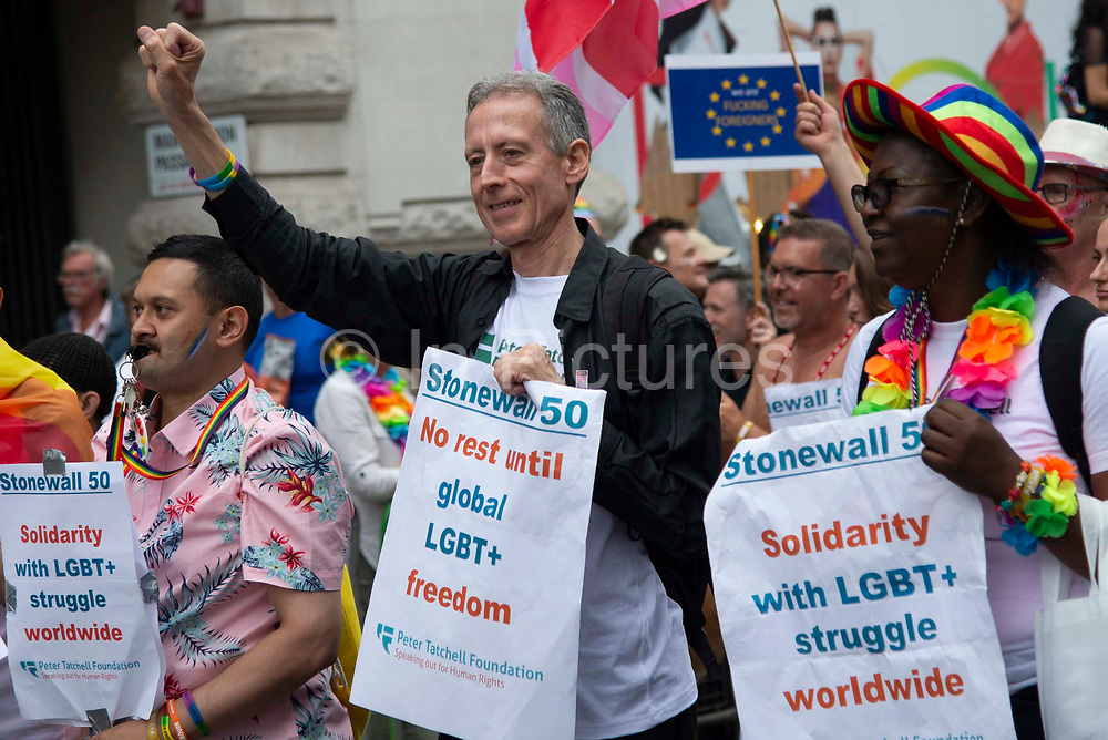 Peter Tatchell of Stonewall marches with members of the Lesbian, Gay, Bisexual and Transgender (LGBT) community taking part in the annual Pride Parade on 6th July, 2019 in London,United Kingdom. (photo by Claire Doherty/In Pictures via Getty Images)