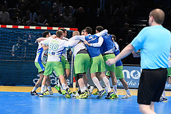 Slovenian team celebrate  the victory after 25th IHF men's world championship 2017 match between Slovenia and Qatar at Accord hotel Arena on january 24 2017 in Paris. France. PHOTO: CHRISTOPHE SAIDI / SIPA / Sportida