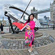 "Chinese Soprano 王蓓蓓,Wang Beibei sings 我和我的祖国,Me and my country to celebration of the 70th China National Day 2019 and a Chinese ""Qipao"" flash mob, London, 28 September 2019, UK."