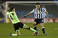 Dan Gosling of Bournemouth (l)  intercepts Ben Thompson of Millwall. The Emirates FA Cup 3rd round match, Millwall v AFC Bournemouth at The Den in London on Saturday 7th January 2017.<br /> pic by John Patrick Fletcher, Andrew Orchard sports photography.