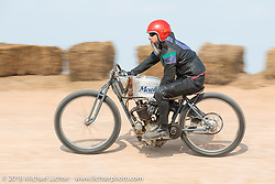 Xavier Muriel racing in the Sons of Speed vintage race series at the Full Throttle Saloon during the 78th annual Sturgis Motorcycle Rally. Sturgis, SD. USA. Thursday August 9, 2018. Photography ©2018 Michael Lichter.