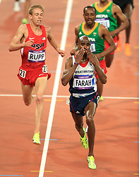 File photo dated 04-08-2012 of Great Britain's Mo Farah celebrates winning the Men's 10,000m final