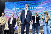 20191124/ Javier Calvelo - adhocFOTOS/ URUGUAY/ MONTEVIDEO/  ELECCIONES NACIONALES/ Hoy domingo 24 de noviembre de 2019 se realiza la segunda vuelta o balotaje de las elecciones presidenciales de Uruguay. Tercera etapa del proceso electoral donde son electos presidente y vicepresidente por el período 2020 - 2025.<br /> En la sede del sector TODOS del Partido Nacional el candidato presidencial Luis Lacalle Pou y su compañera de fórmula Beatriz Argimón esperaron los resultados electorales, luego salieron a saludar a sus votantes que esperaban a los pies de un escenario que se montó en la puerta de la sede.<br /> En la foto:  Luis Lacalle Pou tras conocer los resultados de la elección nacional, en la sede del sector Todos en Montevideo. Foto: Javier Calvelo /  adhocFOTOS