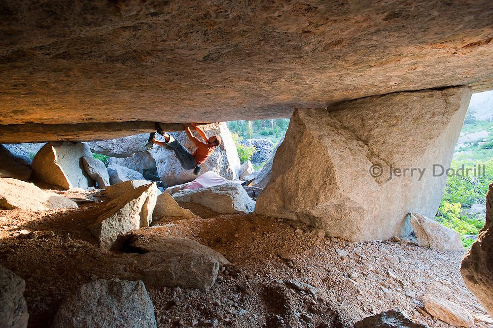 "Brad Parker climbing ""Car Jack Crack"" (5.12c) at Chipmonk Flat, Sonora Pass, Sierra Nevada Mountains, California"