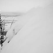 Jim Ryan skis a monster blower powder winter storm in the Teton backcountry.
