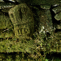 """PERU. PERUVIAN ARCHAEOLOGY. Pre-Incan (Chachapoyan) """"nail stone"""" sculpture at previously undiscovered city in the upper Amazon cloud forests. (Found in 1999)."""