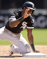 CHICAGO - MAY 14:  Tim Anderson #7 of the Chicago White Sox reacts after stealing second base against the Cleveland Indians on May 14, 2019 at Guaranteed Rate Field in Chicago, Illinois.  (Photo by Ron Vesely)  Subject:  Tim Anderson