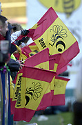 Wycombe, Buckinghamshire, 29th February 2004, Adams Park, [Mandatory Credit; Peter Spurrier/Intersport Images],<br /> 29/02/2004  -  Powergen  Cup - London Wasps v Pertemps Bees<br /> Bees fans' show their flags'