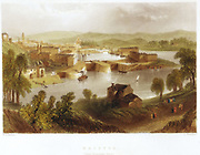 Bristol from Rownham Ferry, showing steam ship approaching the lock into the docks. Engraving after the picture by William Henry Bartlett (1809-1854) published in 1841.