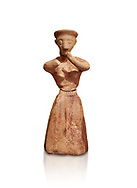 Minoan clay female figurine in the attitude of worship, Chamezi 1900-1700 BC; Heraklion Archaeological  Museum, white background. .<br /> <br /> If you prefer to buy from our ALAMY PHOTO LIBRARY  Collection visit : https://www.alamy.com/portfolio/paul-williams-funkystock/minoan-art-artefacts.html . Type -   Heraklion   - into the LOWER SEARCH WITHIN GALLERY box. Refine search by adding background colour, place, museum etc<br /> <br /> Visit our MINOAN ART PHOTO COLLECTIONS for more photos to download  as wall art prints https://funkystock.photoshelter.com/gallery-collection/Ancient-Minoans-Art-Artefacts-Antiquities-Historic-Places-Pictures-Images-of/C0000ricT2SU_M9w