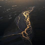 An aerial view of the Foraker River in Denali National Park, Alaska.