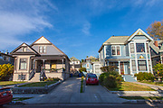 Victorian homes in Angelino Heights. Los Angeles, California, USA