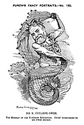 Punch's Fancy Portraits. No 140. Sir R. Cunliffe Owen. The Merman of the Fisheries Exhibition. Owen' everything to His Owen energy.