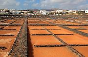 Evaporation of sea water in salt pans, Museo de la Sal, Salt museum, Las Salinas del Carmen, Fuerteventura, Canary Islands, Spain