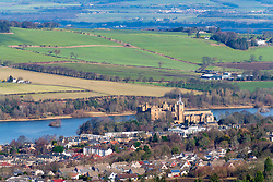 Linlithgow Palace and town of Linlithgow in West Lothian, Scotland, UK