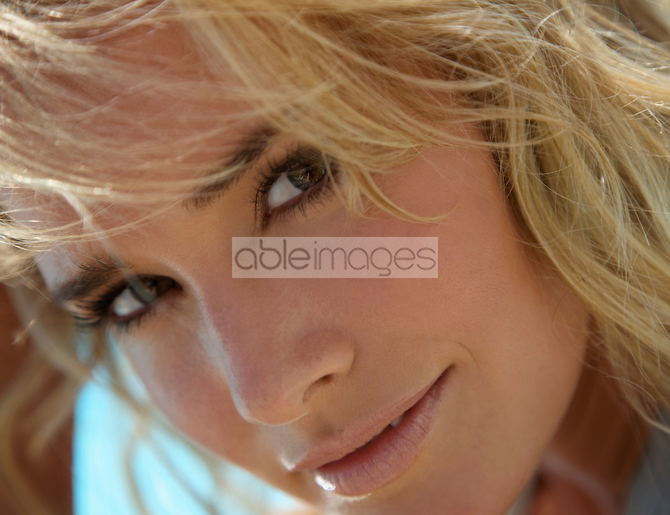 Extreme close up of a young woman