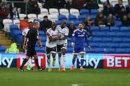 Neeskens Kebano (l) of Fulham celebrates with Sone Aluko  after he scores his teams 2nd goal. EFL Skybet championship match, Cardiff city v Fulham at the Cardiff city stadium in Cardiff, South Wales on Saturday 25th February 2017.<br /> pic by Andrew Orchard, Andrew Orchard sports photography.