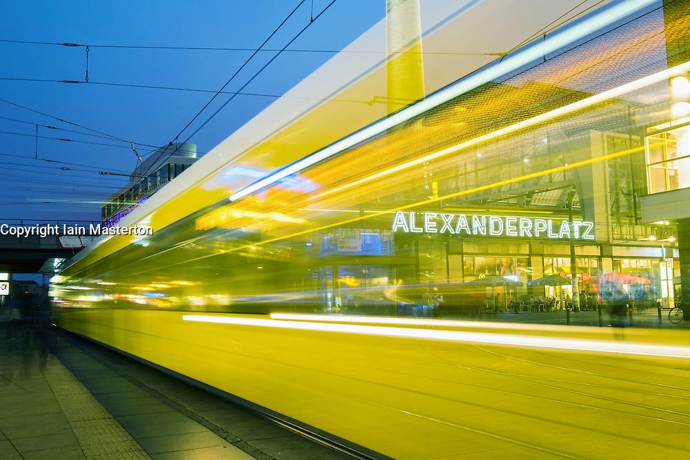 Night view of Tram at Alexanderplatz in Mitte Berlin Germany