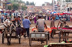 View of busy Kashgar Sunday Market in Xinjiang Province, China