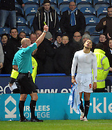 James Vaughn (9) of Huddersfield Town is sent off after a 2nd yellow for removing his shirt after scoring against Norwich City during the Sky Bet Championship match at the John Smiths Stadium, Huddersfield<br /> Picture by Graham Crowther/Focus Images Ltd +44 7763 140036<br /> 17/03/2015