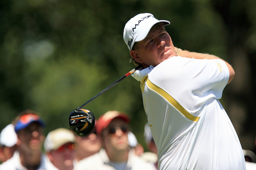 11 August 2007: John Daly drives off the 4th tee during the third round of the 89th PGA Championship at Southern Hills Country Club in Tulsa, OK.