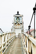 The Point Bonita Lighthouse on a cloudy northern California day.