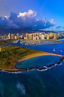 Aerial view of Ala Moana Regional Park (Magic Island) with Ala Wai Yacht Harbor and Waikiki in back, Honolulu, Oahu, Hawaii, USA