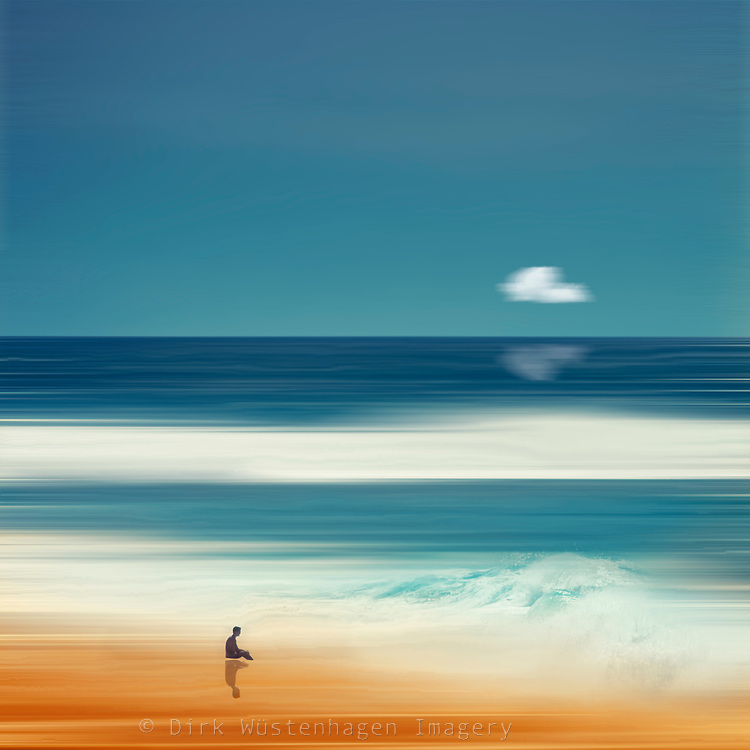 Man sitting on a beach watching waves brake - abstract seascape