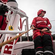Leg 02, Lisbon to Cape Town, day 18, on board MAPFRE, Tamara Echegoyen holding the main sheet. Photo by Ugo Fonolla/Volvo Ocean Race. 22 November, 2017