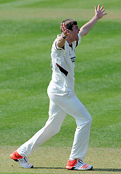 Somerset's Jamie Overton unsuccessfully appeals for an LBW decision.  - Photo mandatory by-line: Harry Trump/JMP - Mobile: 07966 386802 - 08/04/15 - SPORT - CRICKET - Pre Season - Somerset v Lancashire - Day 2 - The County Ground, Taunton, England.