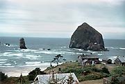 CS03642. Haystack rock, Cannon Beach, Kodachrome early1950s.