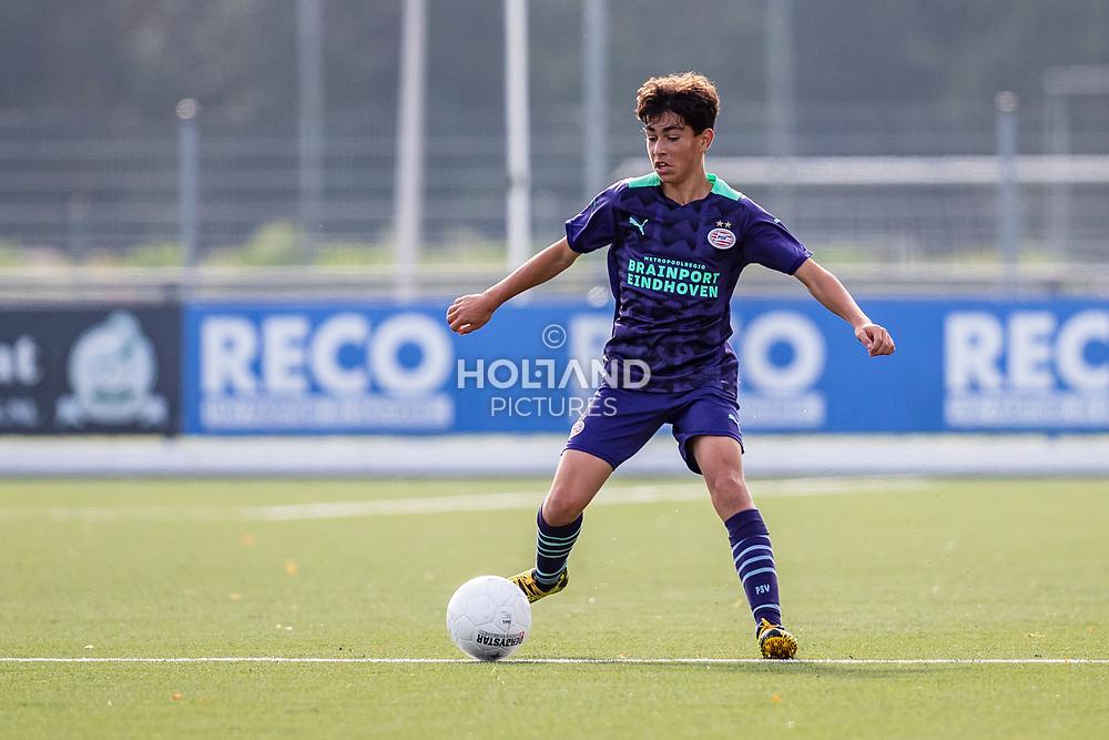 ALPHEN AAN DEN RIJN, NETHERLANDS - OCTOBER 2: #6 Benjamin Khaderi (PSV) during the Divisie 1 A NAJAAR u15 match between Alphense Boys and PSV at Sportpark De Bijlen on October 2, 2021 in Alphen aan den Rijn, Netherlands