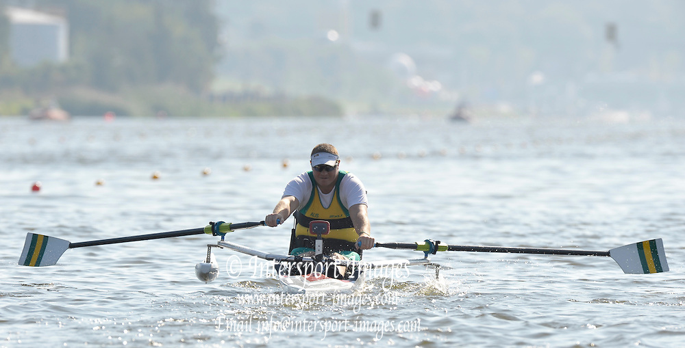 Poznan, POLAND,  AUS ASM1X, Benjamin HOULISON,   competing in the  repehage, on the third  day of the, 2009 FISA World Rowing Championships. held on the Malta Rowing lake,Tuesday  25/08/2009  [Mandatory Credit. Peter Spurrier/Intersport Images] ; Adaptive.
