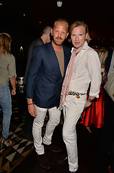 Alistair Guy and Henry Conway at the Quaglino's Q Legends Summer Launch Party hosted by Henry Conway at Quaglino's, 16 Bury Street, London England. 18 July 2017.