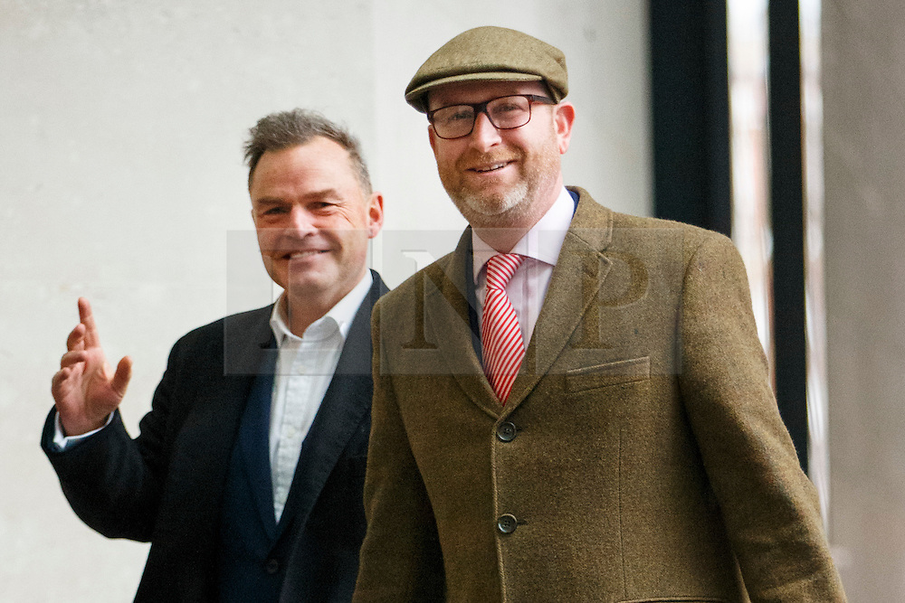© Licensed to London News Pictures. 05/03/2017. London, UK. UKIP politician PETER WHITTLE and UKIP leader PAUL NUTTALL arrive at BBC Broadcasting House in London to appear on The Andrew Marr show on BBC One on  5 March 2017. Photo credit: Tolga Akmen/LNP