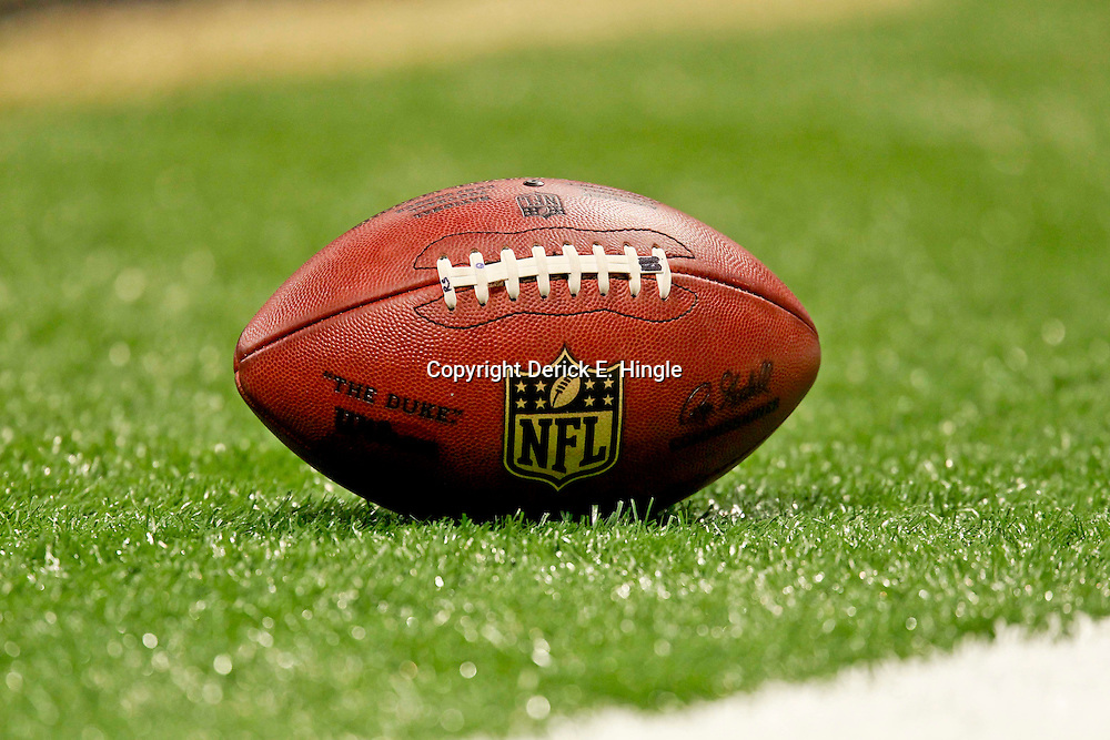 August 25, 2012; New Orleans, LA, USA; A NFL football on the field during the first half of a preseason game between the New Orleans Saints and the Houston Texans at the Mercedes-Benz Superdome. Mandatory Credit: Derick E. Hingle-US PRESSWIRE