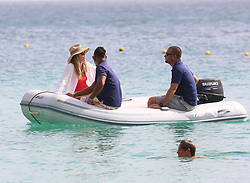 EXCLUSIVE: Model Abbey Clancy and footballer husband Peter Crouch are pictured sailing on luxury catamaran Seaduced while on holiday in Barbados. 12 Jun 2018 Pictured: Abbey Clancy, Peter Crouch. Photo credit: Queensofthenorth/MEGA TheMegaAgency.com +1 888 505 6342