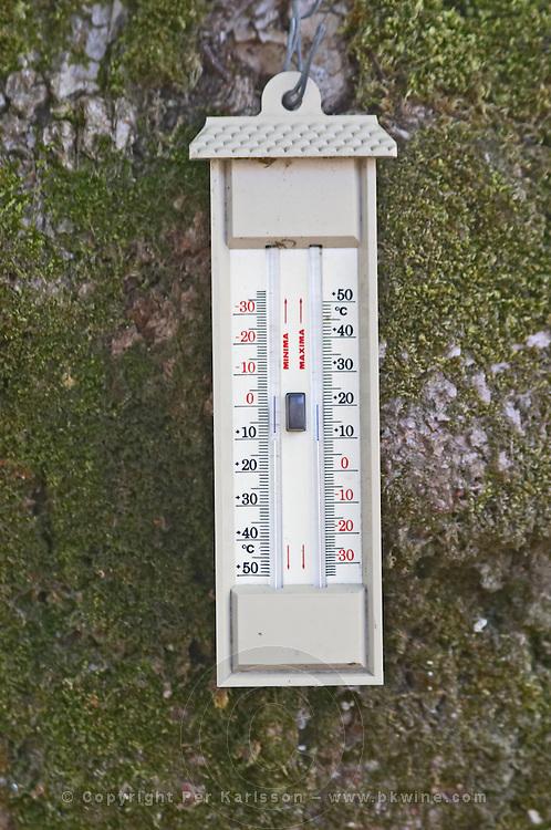Min max thermometer. Chateau Clos Fourtet, Saint Emilion, Bordeaux, France
