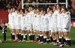 The England U20 squad line up for the National Anthem at Ashton Gate Stadium - Mandatory by-line: Paul Knight/JMP - Mobile: 07966 386802 - 11/03/2016 -  RUGBY - Ashton Gate Stadium - Bristol, England -  England U20 v Wales U20 - Six Nations U20