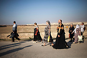 Christian Orthodox pilgrims are returning from the river, after baptism , on the day of the Epiphany.