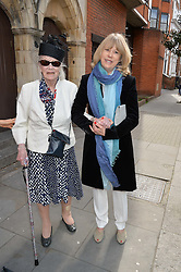 DIANA BOYD mother of Pattie Boyd and JENNY BOYD sister of Pattie Boyd at the wedding of Pattie Boyd & Rod Weston  at Chelsea Registry Office, Chelsea Old Town Hall, King's Road, London on 30th April 2015. Pattie Boyd was previously married to both George Harrison and Eric Clapton.