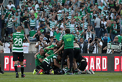 May 25, 2019 - Oeiras, Portugal - OEIRAS, PORTUGAL - MAY 25: Sporting's forward Luiz Phellype from Brazil celebrates with teammates after scoring after scoring the last penalty during the Portugal Cup Final football match Sporting CP vs FC Porto at Jamor stadium, on May 25, 2019, in Oeiras, outskirts of Lisbon, Portugal. (Credit Image: © Pedro Fiuza/NurPhoto via ZUMA Press)